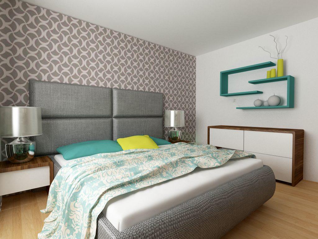 Feature wall in wallpaper in bedroom by Gavin Lambert Decorators Nelson